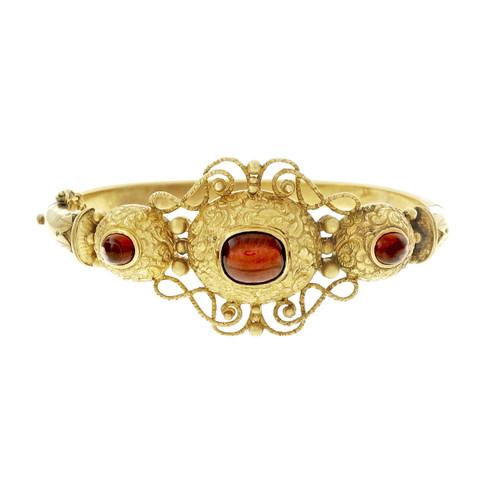 Antique Victorian 1850 14k Garnet Cabochon Bangle Bracelet