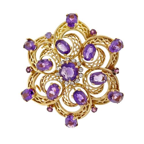 Vintage 1960 Amethyst Diamond Open Work Swirl Pin