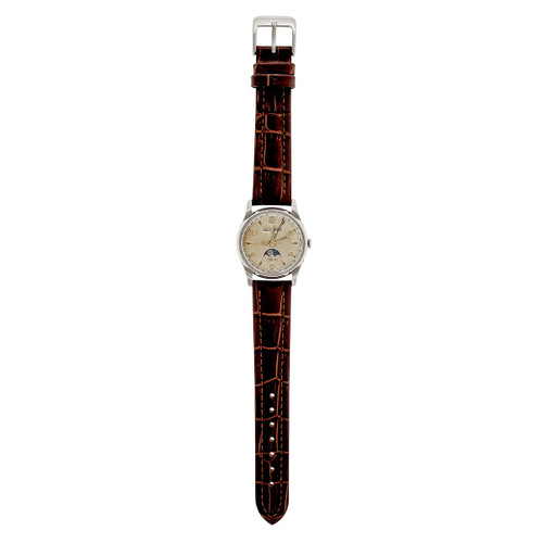Vintage Zodiac Moon Phase Day Date Month 1960 Steel Wrist Watch