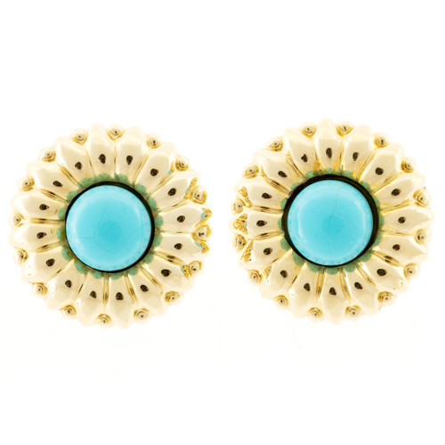 Vintage 1970 Turquoise Sunflower 18k Yellow Gold Clip Post Earrings