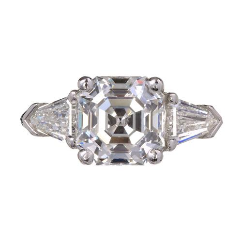 Peter Suchy Asscher Diamond Engagement Ring Platinum Bullet Cut Side Diamonds
