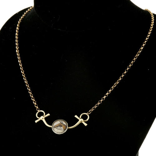 Victorian Reverse Carved Quartz Horse Necklace 14k Yellow Gold