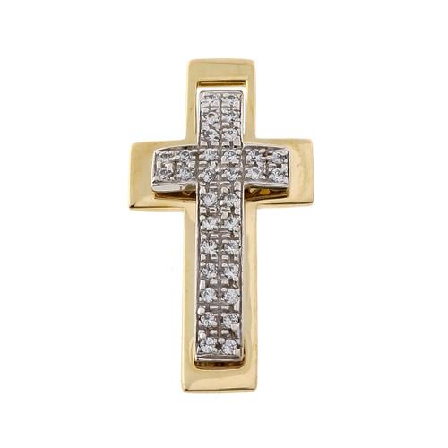 Estate Diamond Cross 14k Yellow & White Gold Pendant