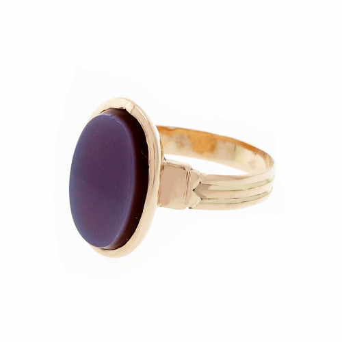 Victorian 1890 Carnelian Hardstone Ring 14k Pink Gold