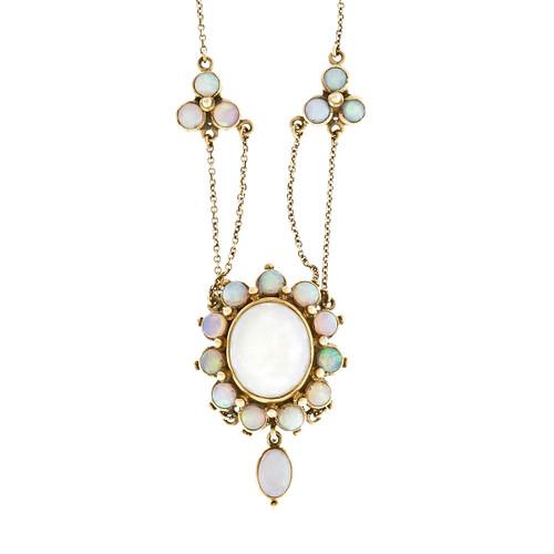 Estate Vintage Opal Dangle Necklace 14k Yellow Gold