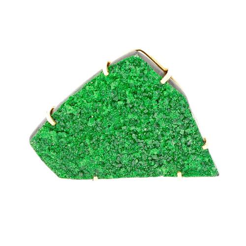 Peter Suchy Green Druzy Pin Pendant 14k Yellow Gold