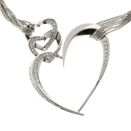 Estate Triple Heart Diamond Designer Pendant 14k White Gold