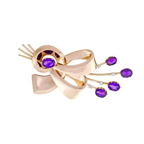 Vintage 1940 – 1950 Amethyst Pin Swirl Retro Design 14k Rose Gold