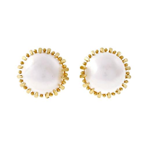 Vintage 1960 Mobé Pearl 14k Yellow Gold Earrings