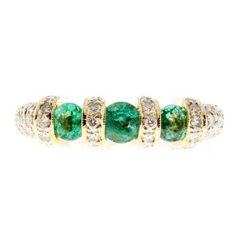 Estate Emerald Pavé Diamond Ring 18k Yellow Gold