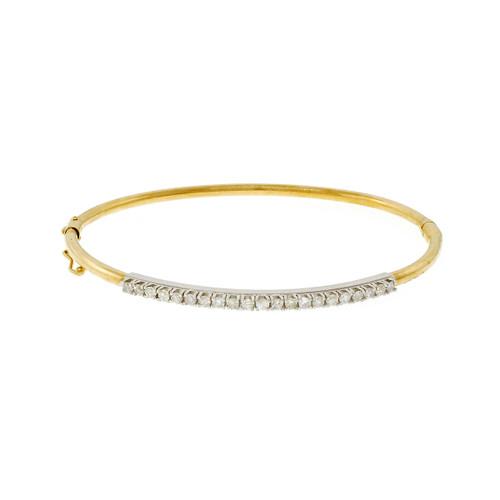 Estate Diamond Bangle Bracelet 14k White & Yellow Gold