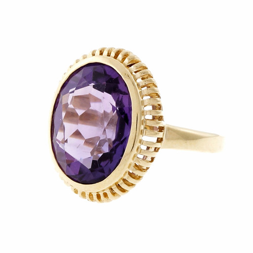 Estate Purple Oval Amethyst 14k Yellow Gold Ring