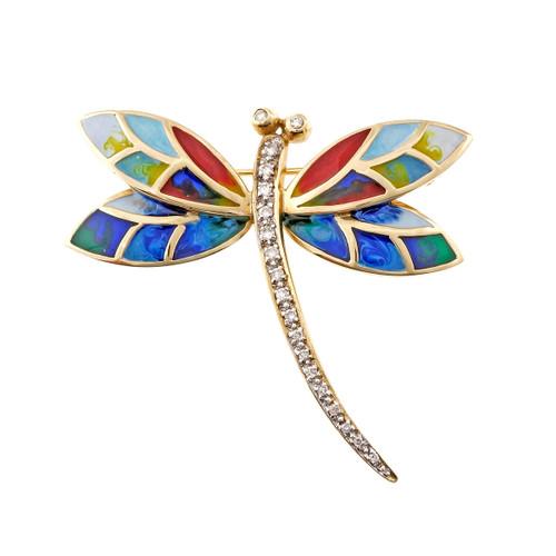 Estate Dragon Fly Pin Multi Color Enamel Wings Diamond Body 14k Yellow Gold