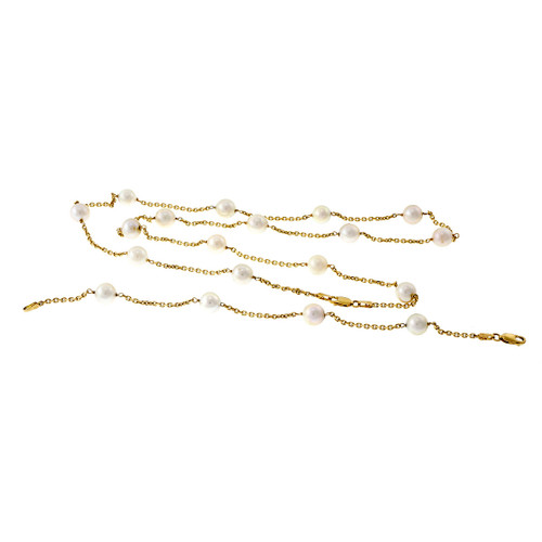 Estate Pearl By The Yard Necklace Bracelet 14k Yellow Gold Chinese Freshwater