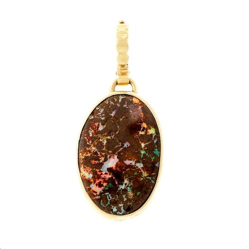 Peter Suchy Boulder Opal Enhancer Pendant 14k Yellow Gold