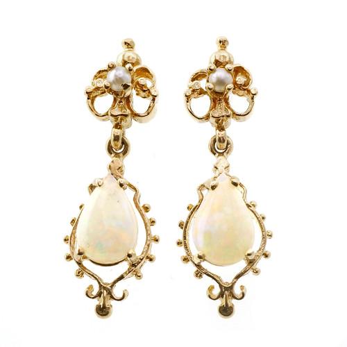 Vintage Opal Pearl Dangle Earrings 14k Yellow Gold