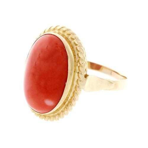 Vintage 1950 Natural Coral Ring GIA Certified Red Orange Color 18k & 14k Gold