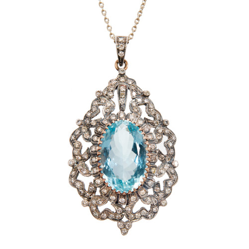 15.10 Carat Oval Aquamarine Diamond Silver Gold Art Deco Pendant Necklace