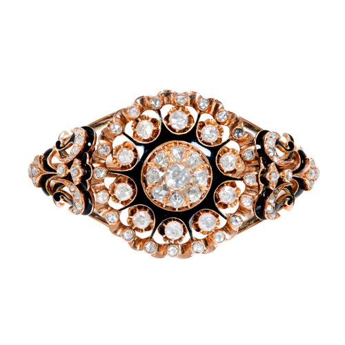3.25 Carat Rose Cut Diamond Enamel Rose Gold Bangle Bracelet