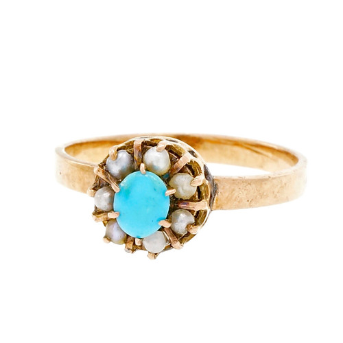 Antique Victorian Ring 1880 Persian Turquoise Natural Pearl 14k Pink Gold