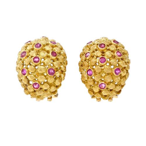 Spitzer & Furman Ruby Gold Domed Clip Post Earrings
