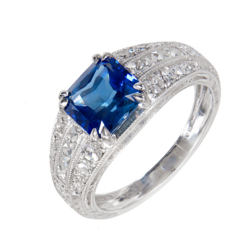 Peter Suchy 2.10 Carat Cornflower Blue Sapphire Diamond Platinum Engagement Ring
