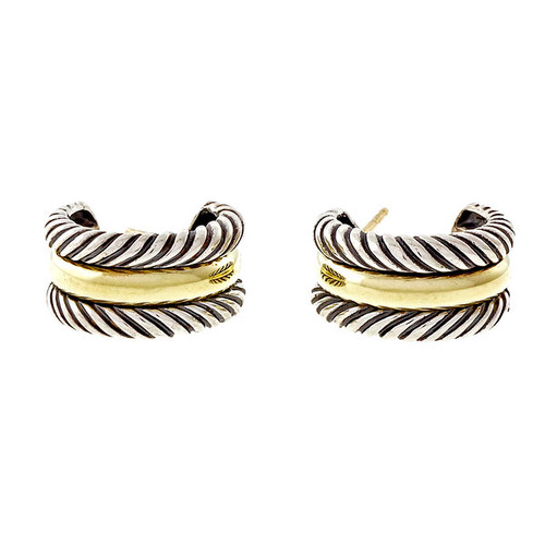 14k Yellow Gold & Sterling Silver David Yurman Cable Hoop Earrings