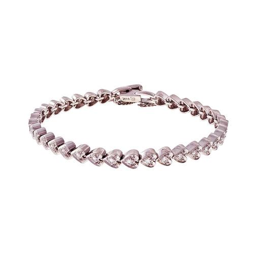 Estate Heart Diamond Bracelet Hinged Link 14k White Gold