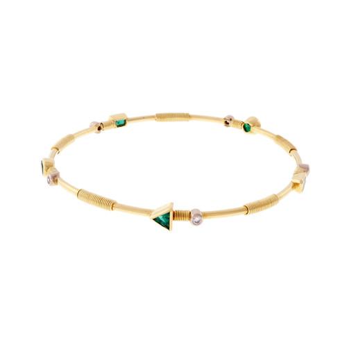 Estate Emerald Slip On Bangle Bracelet Solid 18k Yellow Gold Diamond