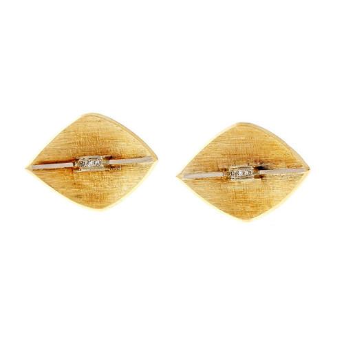 Vintage 1950 Diamond Cufflinks Textured 3-D Marquise Shape 14k Yellow Gold