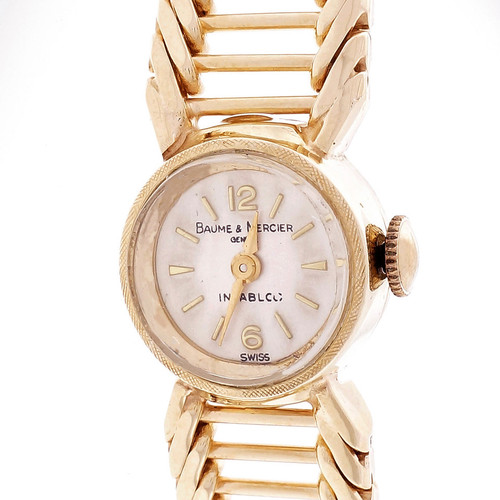Baume & Mercier Ladies 1960 Vintage Wrist Watch 14k Yellow Gold