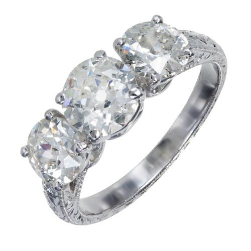 Peter Suchy 3 Stone Old European Cut Diamond Platinum Ring