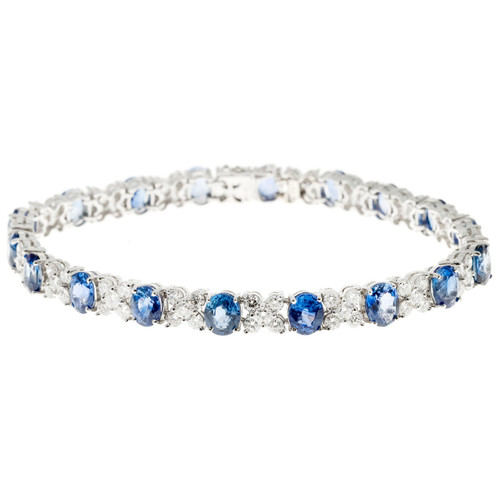 "Bright Blue Sapphire Diamond Bracelet ""XO"" Design 18k White Gold"