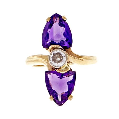 Vintage 1950 Shield Amethyst Ring Old European Diamond