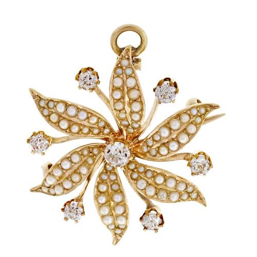 Victorian Antique Natural Pearl Pin Pendant 14k Yellow Gold Old European Diamond