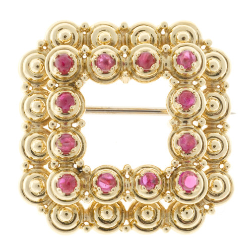 Vintage Tiffany & Co Bright Red Ruby Cabochon Pin Square 1950 18k yellow gold
