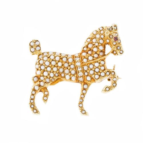 Vintage Prancing Horse Seed Pearl Diamond Pin 14k Yellow Gold