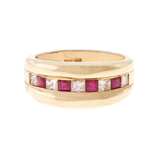 Estate Princess Cut Diamond Square Ruby Ring 14k Yellow Gold