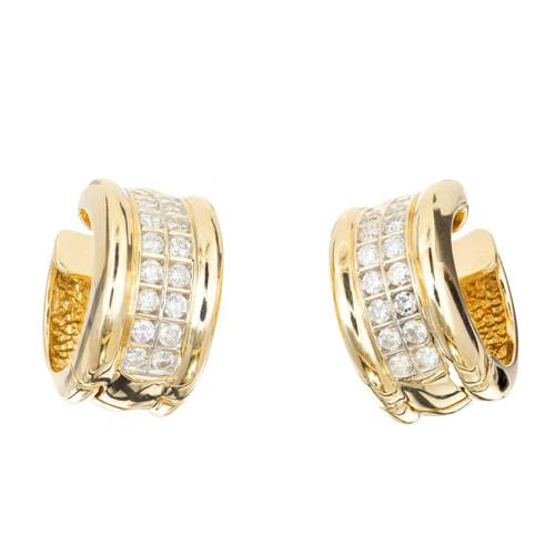 Estate Wide Huggie Diamond Earrings 14k Yellow Gold