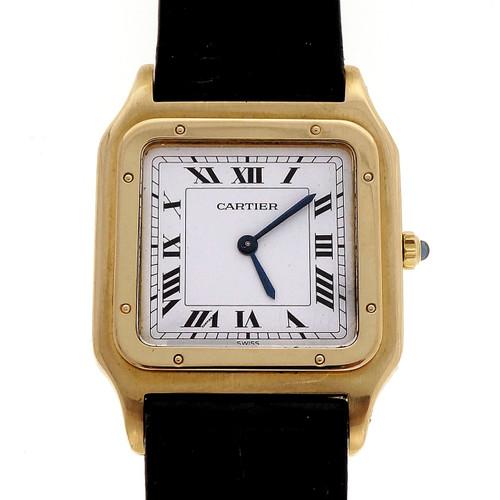 Cartier Santos 18k Yellow Gold Square Men's Ladies Wrist Watch