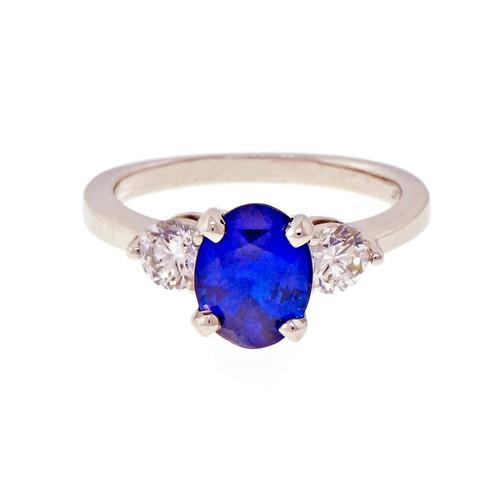Peter Suchy Cornflower Blue Oval Sapphire Ring Platinum Diamonds