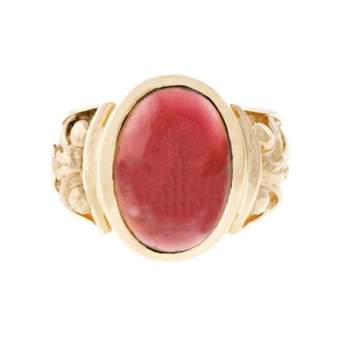 Vintage Cabochon Garnet 14k Yellow Gold Ring