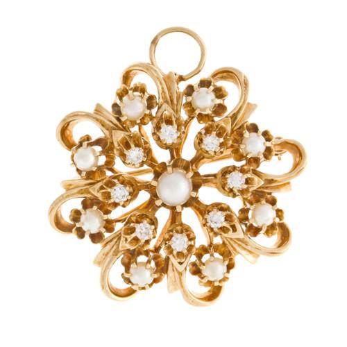 Vintage 1950 Pin Pendant Swirl Design Cultured Pearl Diamond 14k Yellow Gold