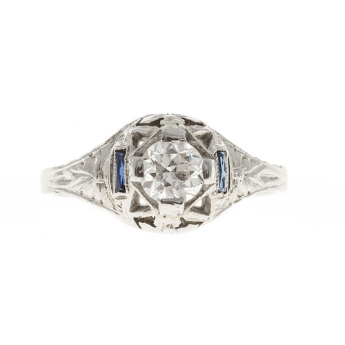 Estate Art Deco 1930 Filigree Ring 18k White Gold European Cut Diamond Ring