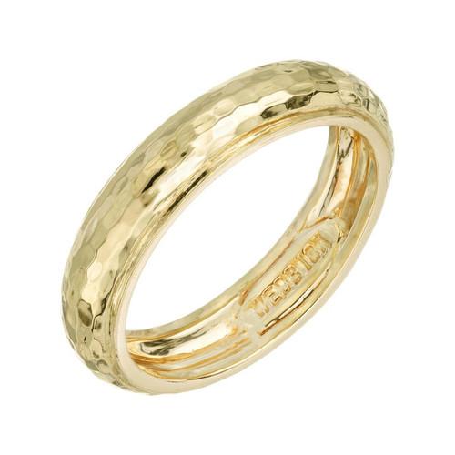 David Webb 18k Yellow Gold Hammered Wedding Band Ring