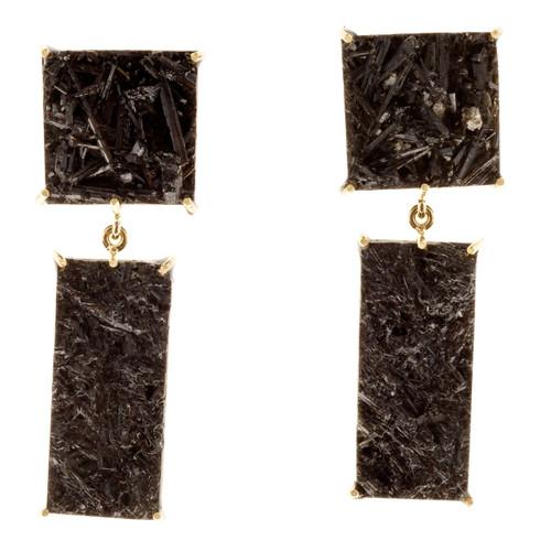 Peter Suchy 36.40 Carat Black Tourmaline Gold Dangle Earrings