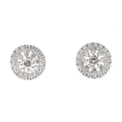 Estate Memoire Diamond Bouquet Earrings 18k White Gold Diamond
