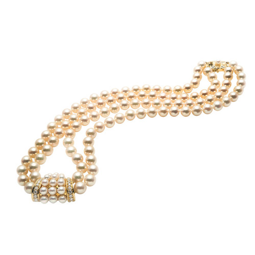 Mikimoto Double Cultured Pearl Diamond Gold Necklace