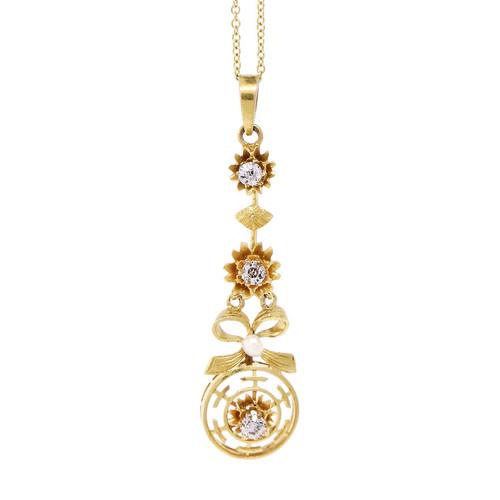 Estate Bow Dangle Diamond Pendant 14k Yellow Gold Natural Pearl