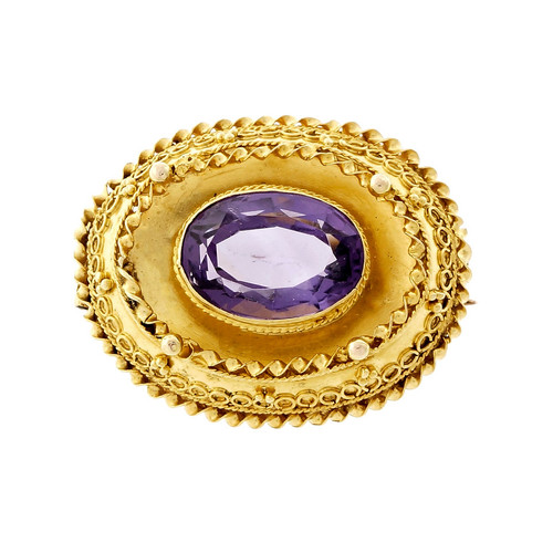 Vintage Oval Amethyst Pin Hand Made 14k Yellow Gold